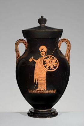 Ercole e Atena, anfora attica del Pittore di Berlino, 500-490 a.C. ca. Antikenmuseum Basel und Sammlung Ludwig