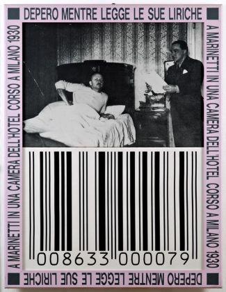 Franco Vaccari, Depero mentre legge le sue liriche a Marinetti in una camera dell'Hotel Corso a Milano 1930, 1989-95. Photo Fabio Fantini. Collezioni Cattelani