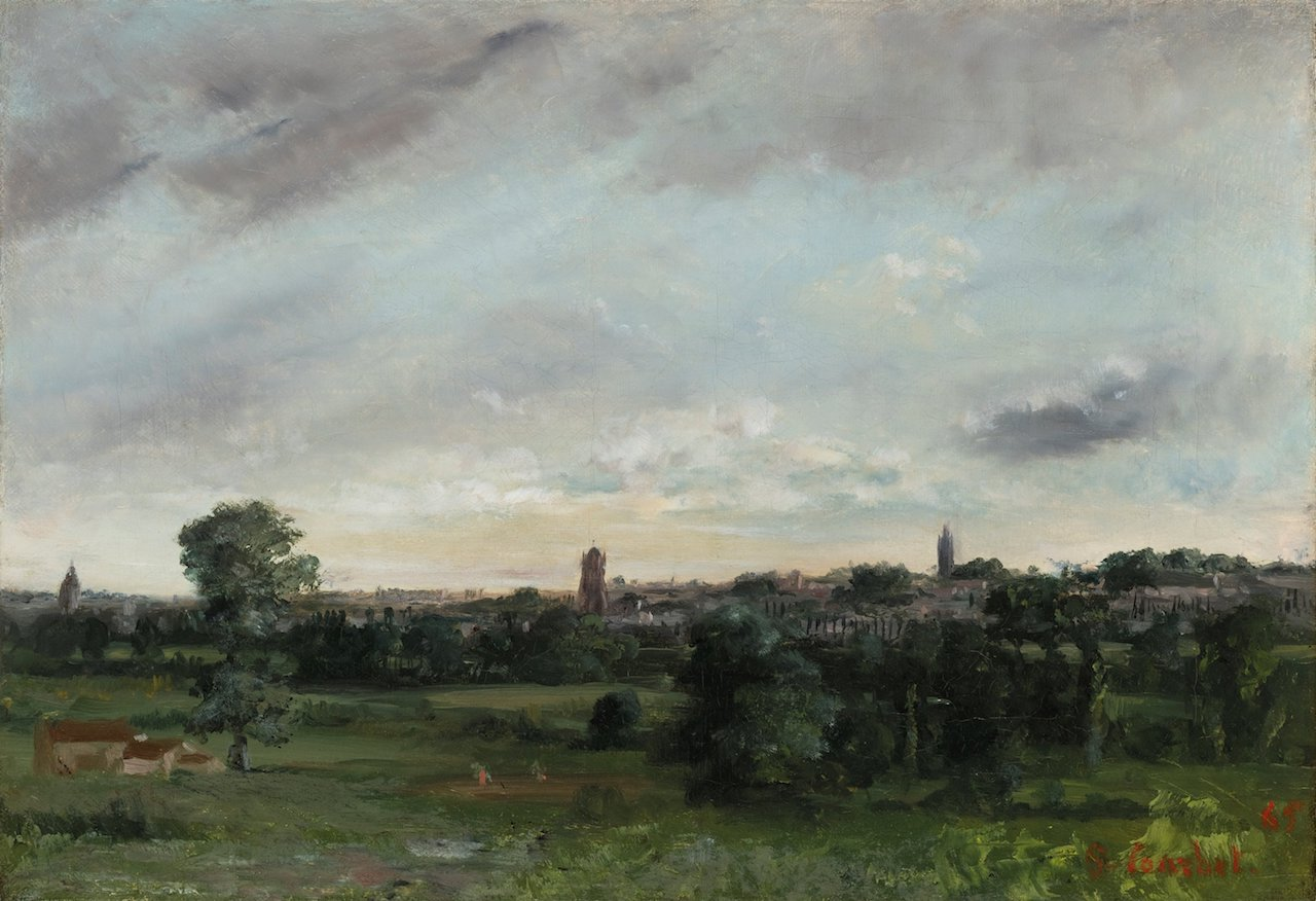 VIEW OF SAINTES, SEEN FROM LORMONT, GUSTAVE COURBET, Oil on canvas, 32 x 46 cm. Signed and dated lower right 'G. Courbet. 65', 1862, PROVENANCE Etienne Baudry collection; His sale, Paris, Hôtel Drouot, Me Pillet, 23 April 1866, no. 7; Sale Paris, Hôtel Drouot, 8 May 1867, no. 13; Blanc collection, in 1878; Galerie Durand-Ruel, Paris, 11 March 1880; Courty collection; Gaston Delestre collection; Thence by descent