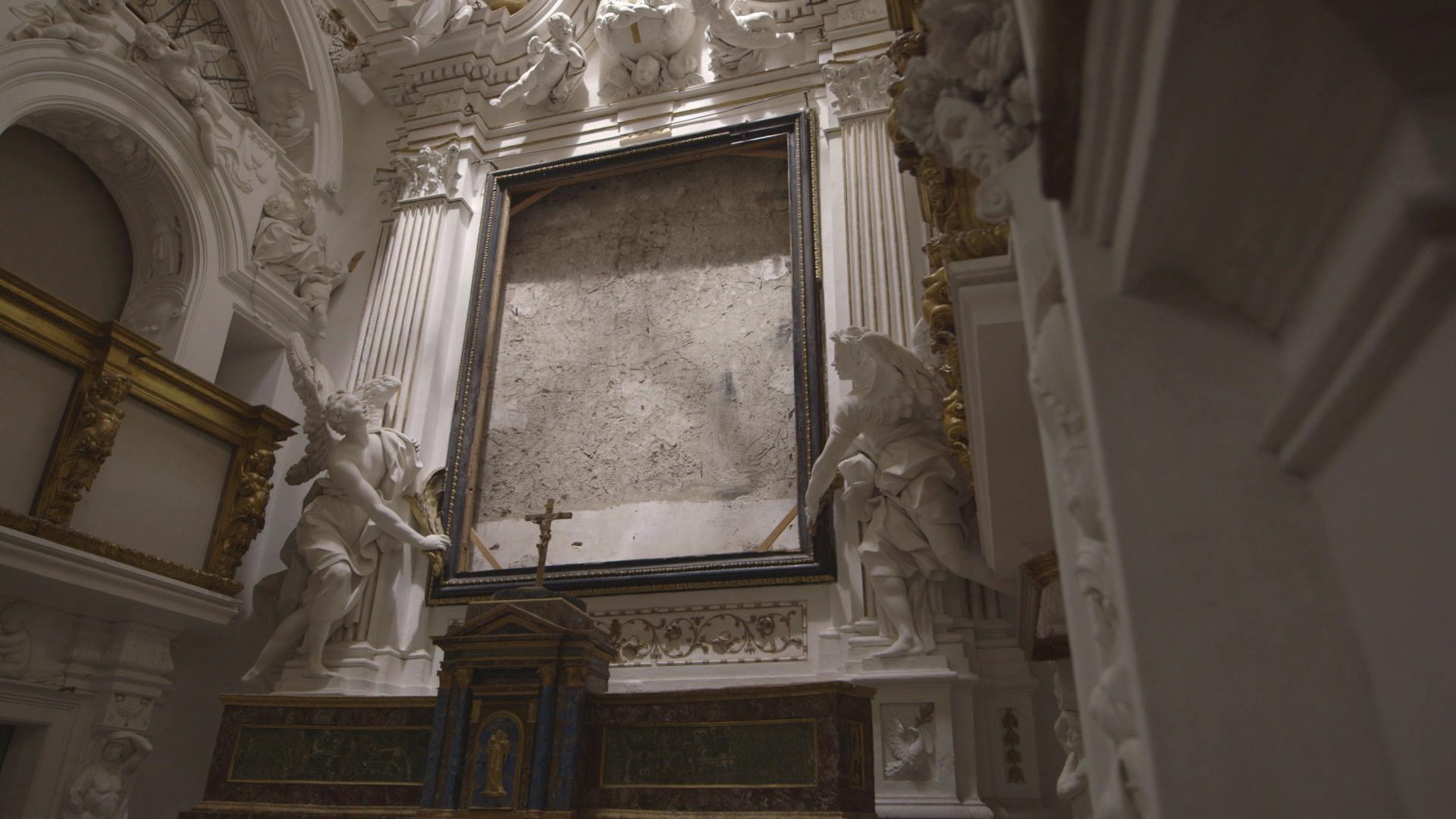L'Oratorio della Compagnia di San Lorenzo, a Palermo, con la cornice del Caravaggio trafugato