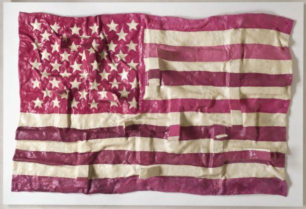 "Maurizio Savini, ""American flag"", 2011, fiberglass chewingum paraloid, cm 143×120"