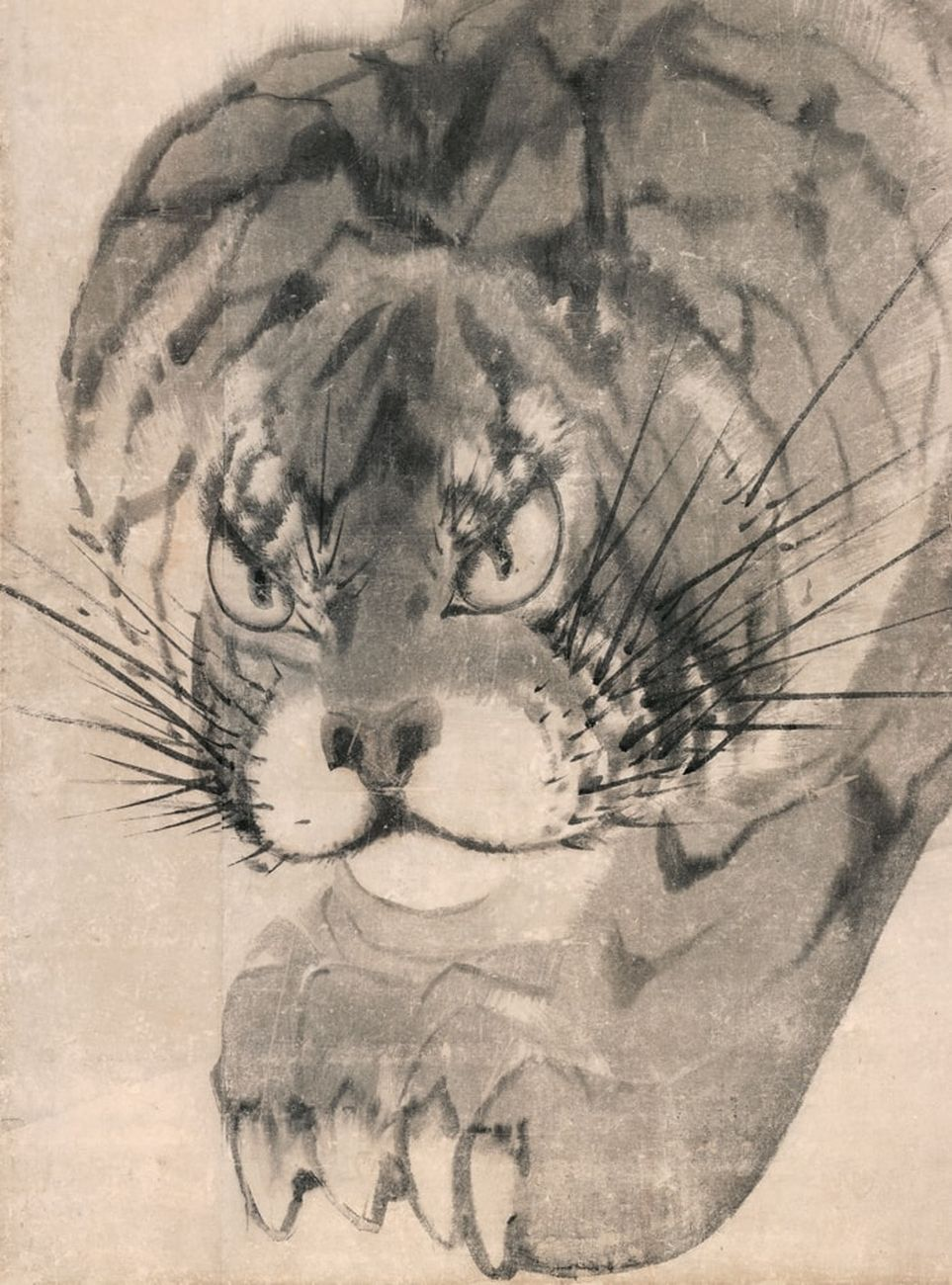 Nagasawa Rosetsu, Tigre, 1786. Dettaglio da una serie di 6 pareti mobili, Muryōji, Kushimoto