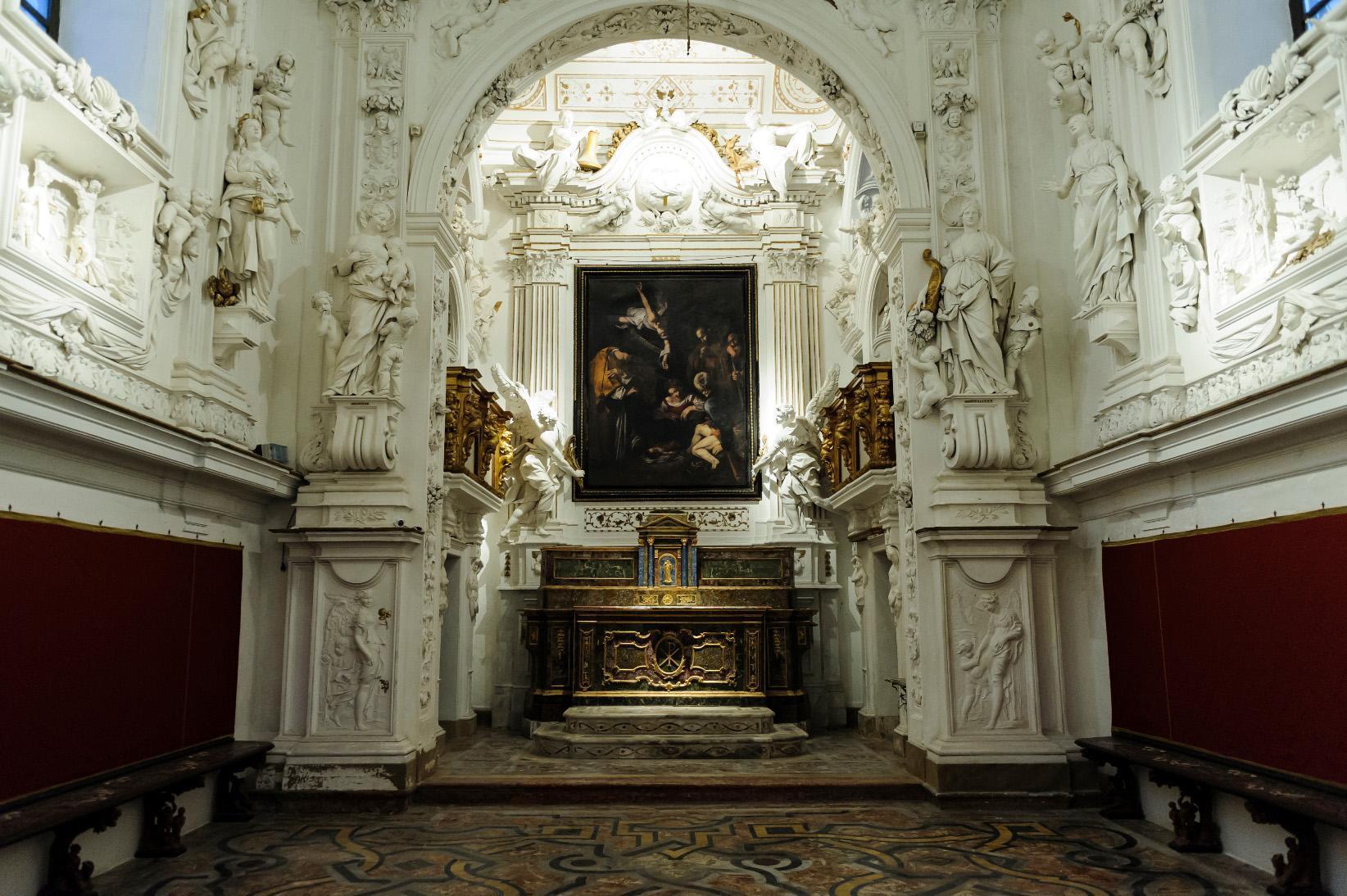 Copia della Natavità del Caravaggio installata sull'altare dell'Oratorio di San Lorenzo a Palermo - foto Ansa