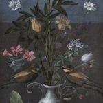 Orsola Maddalena Caccia, Vaso di fiori, con fragole e limone e tre gruccioni, 1626-30 ca. Museo Civico, Moncalvo