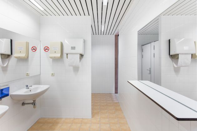 Superflex, Power Toilets:Council of the European Union, 2018. Power Toilets : Council of the European Union is designed in close collaboration with NEZU AYMO architects. Courtesy of the artist