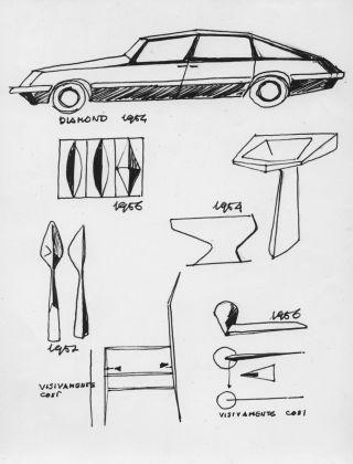 """Un disegno di Ponti che raccoglie esempi di """"Linea Diamante"""", dall'automobile alle piastrelle, dalle posate alle sedie, dalle maniglie ai sanitari © Gio Ponti Archives"""