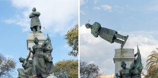 """Una """"lingua di Menelicche"""" lanciata da mani ignote, abbatte la statua di Francesco Crispi (dal video di fare Ala per il progetto realizzato con Wu Ming 2. Manifesta 12, Palermo)"""