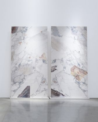Caterina Morigi, Bologna 2018, Installation view, Print on porcelain. 2 pieces 150 x 300 x 0,5 cm