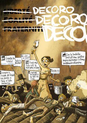 """Decoro, Decoro, Decoro, 2015, Courtesy Zerocalcare, finta rivista free press distribuita nelle metro A e B della capitale per lanciare la campagna """"Roma Comune"""""""
