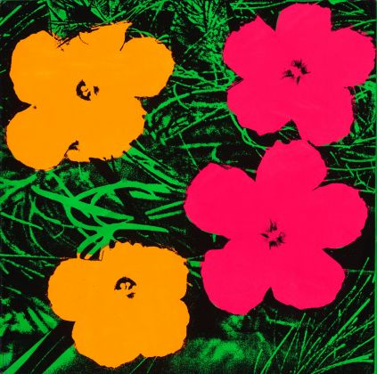 Andy Warhol (1928–1987), Flowers, 1964. Fluorescent paint and silkscreen ink on linen, 61 x 61 cm. The Art Institute of Chicago; gift of Edlis/Neeson Collection, 2015.123 © The Andy Warhol Foundation for the Visual Arts, Inc. / Artists Rights Society (ARS), New York