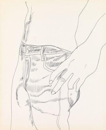 Andy Warhol (1928–1987), Untitled (Hand in Pocket), c. 1956. Ballpoint pen on paper, 42.4 × 34.7 cm. Collection of Mathew Wolf © The Andy Warhol Foundation for the Visual Arts, Inc. / Artists Rights Society (ARS) New York