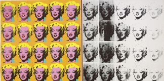 Andy Warhol (1928–1987), Marilyn Diptych, 1962. Acrylic, silkscreen ink, and graphite on linen, two panels: 80 7/8 x 114 in. (205.4 x 289.6 cm) overall. Tate, London; purchase 1980 © The Andy Warhol Foundation for the Visual Arts, Inc. / Artists Rights Society (ARS) New York