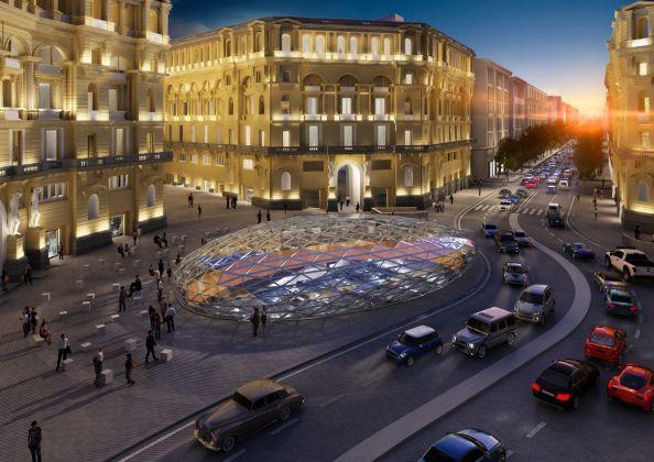 Stazione Duomo, Exterior View, Napoli © Studio Fuksas