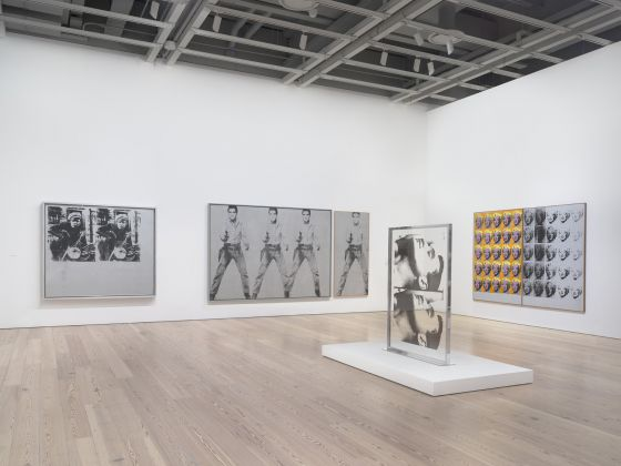 Installation view of Andy Warhol – From A to B and Back Again (Whitney Museum of American Art, New York, November 12, 2018-March 31, 2019). From left to right: Silver Marlon, 1963; Triple Elvis [Ferus Type], 1963; Single Elvis [Ferus Type], 1963; Large Sleep, 1965; Marilyn Diptych, 1962. Photograph by Ron Amstutz. © 2018 The Andy Warhol Foundation for the Visual Arts, Inc. / Licensed by Artists Rights Society (ARS), New York
