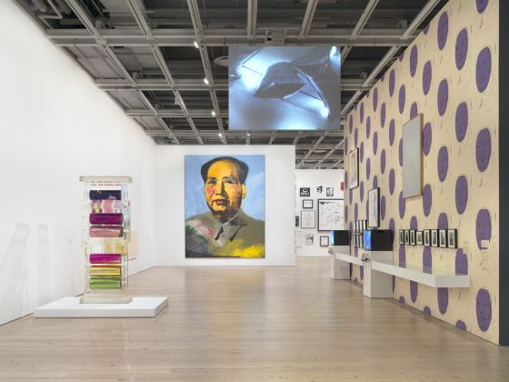 Installation view of Andy Warhol – From A to B and Back Again (Whitney Museum of American Art, New York, November 12, 2018-March 31, 2019). From left to right: Mylar and Plexiglas Construction, c. 1970; Mao, 1972; Willard Mass, Andy Warhol's Silver Flotations, 1966; Vote McGovern, 1972; Mao, 1973; White Painting, 1964. Photograph by Ron Amstutz. © 2018 The Andy Warhol Foundation for the Visual Arts, Inc. / Licensed by Artists Rights Society (ARS), New York