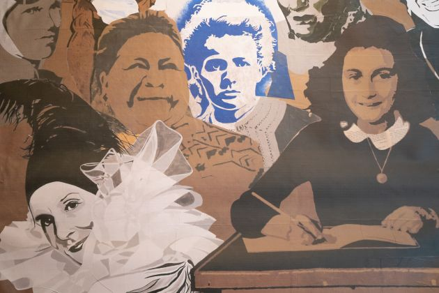 Dettaglio Women's History Mural, Jann Haworth & Liberty Blake. Credit photo Stefano Mascolo. Courtesy of Zazà ramen noodle bar & restaurant
