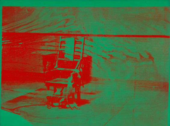 Andy Warhol (1928–1987), Big Electric Chair, 1967–68. Acrylic and silkscreen ink on linen, 137.5 x 186.1 cm. The Art Institute of Chicago; gift of Edlis/Neeson Collection, 2015.128 © The Andy Warhol Foundation for the Visual Arts, Inc. / Artists Rights Society (ARS), New York