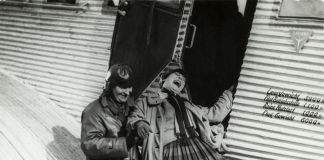Photographer unknown A. Rodchenko and V. Stepanova descending from the airplane. (for the film The General Line by Sergei Eisenstein), 1926. Courtesy Rodchenko and Stepanova Archives, Moscow