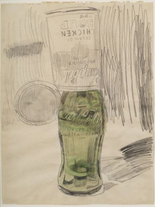 Andy Warhol (1928–1987), Campbell's Soup Can over Coke Bottle, 1962. Graphite and watercolor on paper, 59.7 × 45.1 cm. The Brant Foundation, Greenwich, CT © The Andy Warhol Foundation for the Visual Arts, Inc. / Artists Rights Society (ARS) New York
