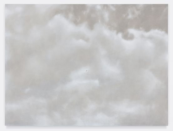 Fuori Registro (The sky above Whitney), 2018, acrilico su tela, cm.150x200. Courtesy Totah, NY. Fotografie di Alex Yudzon