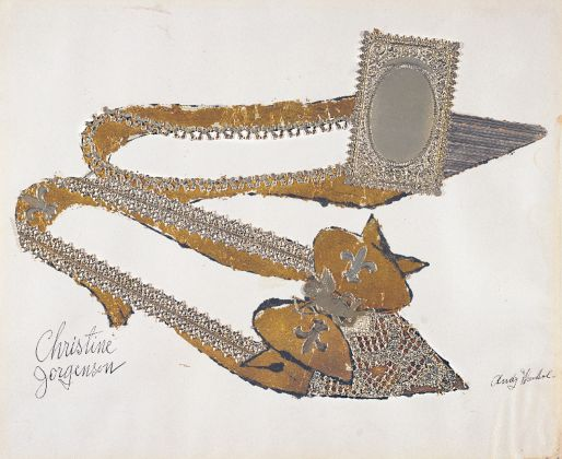 Andy Warhol (1928–1987), Christine Jorgenson, 1956. Collaged metal leaf and embossed foil with ink on paper, 32.9 x 40.7 cm. Sammlung Froehlich, Leinfelden-Echterdingen, Germany © The Andy Warhol Foundation for the Visual Arts, Inc. / Artists Rights Society (ARS) New York