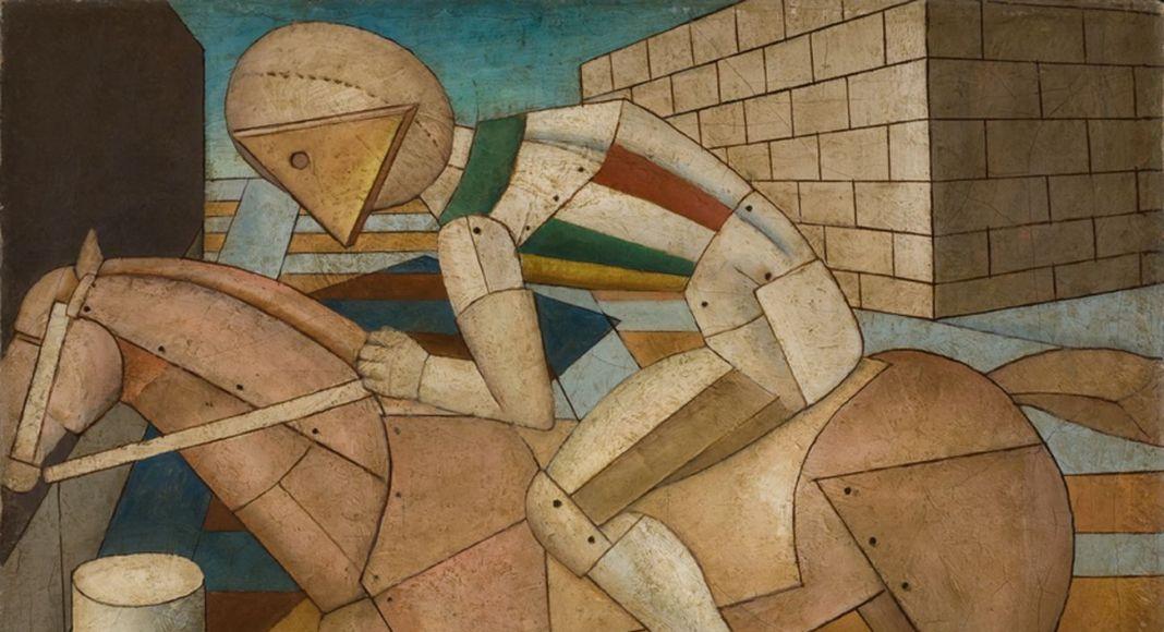Carlo Carrà, Il cavaliere occidentale, 1917, olio su tela, 52 x 67 cm, Fondation Mattioli Rossi, Svizzera (c) 2018 Artists Rights Society (ARS), New York / SIAE, Roma