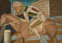 Carlo Carrà, Il cavaliere occidentale, 1917, olio su tela, 52 x 67 cm, Fondation Mattioli Rossi, Svizzera (c) 2018 Artists Rights Society (ARS), New York / SIAE, Roma