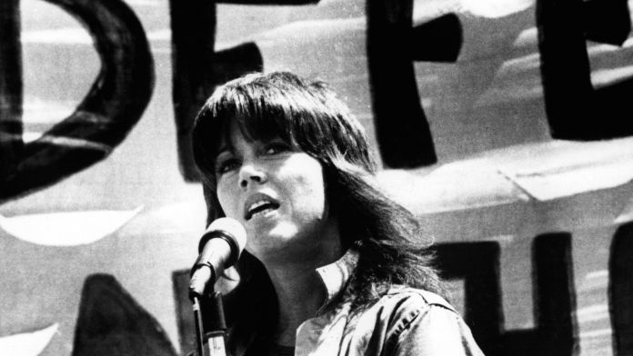 Jane Fonda speaking at an anti war rally in San Francisco, 8/24/72