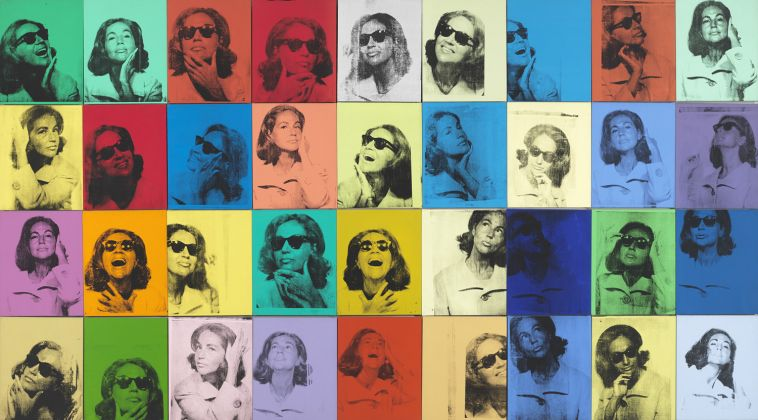 Andy Warhol (1928–1987), Ethel Scull 36 Times, 1963. Silkscreen ink and acrylic on linen, thirty-six panels: 203.2 × 365.8 cm overall. Whitney Museum of American Art, New York; jointly owned by the Whitney Museum of American Art and The Metropolitan Museum of Art; gift of Ethel Redner Scull 86.61a‒jj © The Andy Warhol Foundation for the Visual Arts, Inc. / Artists Rights Society (ARS) New York