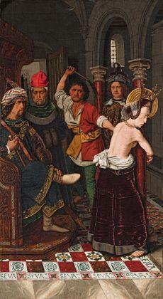 Bartolomé Bermejo, Flagellazione di Santa Engracia, 1474-77. Bilbao, Museo de Bellas Artes de Bilbao