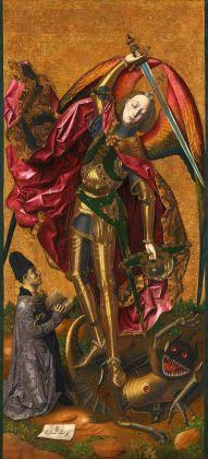 Bartolomé Bermejo, San Miguel triunfante sobre el demonio con Antoni Joan, 1468. Londra, The National Gallery