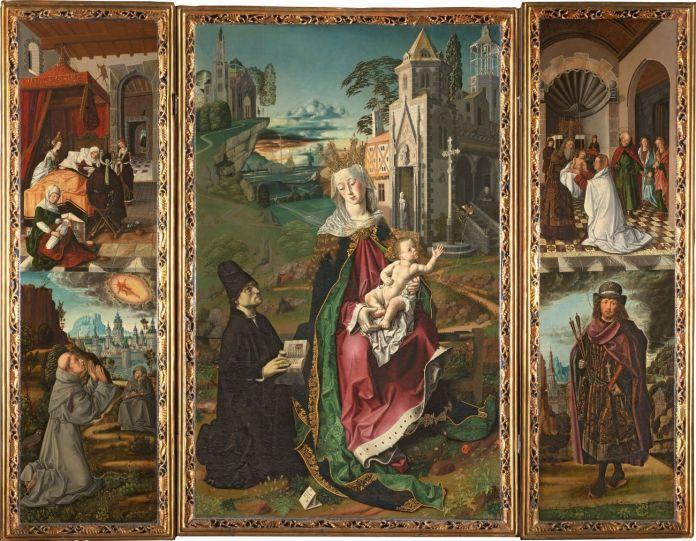Bartolomé Bermejo y taller de los Osona, Tríptico de la virgen de Montserrat, 1483-89. Cattedrale Nostra Signora Assunta, Aula Capitolare, Acqui Terme (Alessandria)