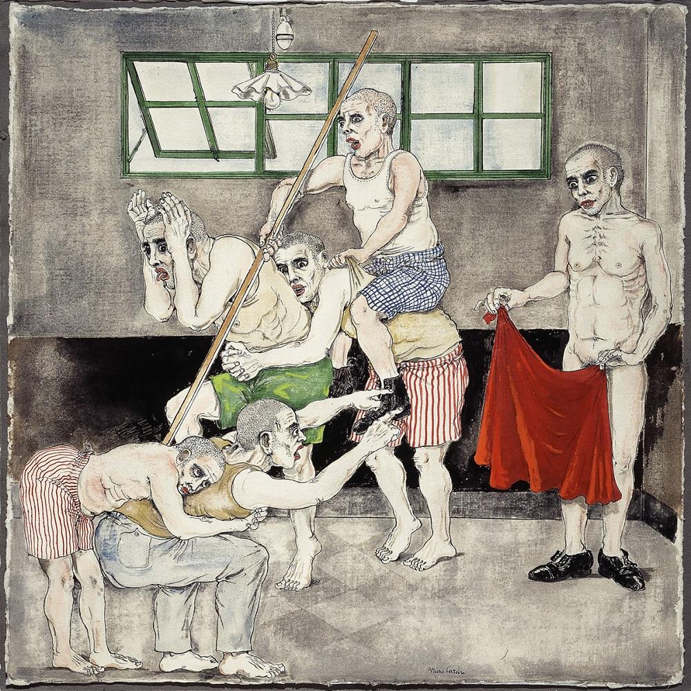 Bruno Caruso, I pazzi del manicomio di Palermo (che mimano la Corrida). Disegno a china acquarellata, 1955