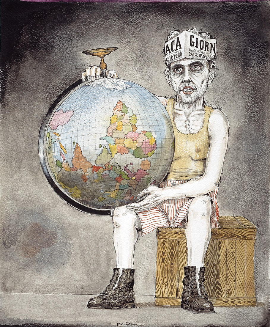 Bruno Caruso, Il mondo alla rovescia, disegno a china acquarellata, 1954