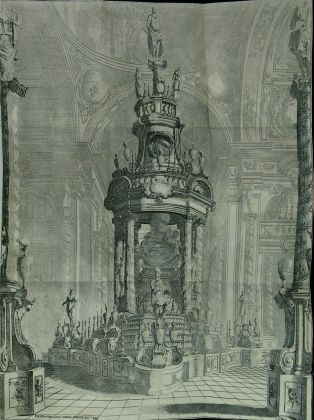 Catafalco progettato da Bibbiena per Ranuccio II Farnese a Piacenza. Courtesy Fondazione Cariparma