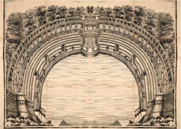 Cavea del teatro intorno al laghetto del Parco Ducale per spettacolo del 1690. Courtesy Fondazione Cariparma