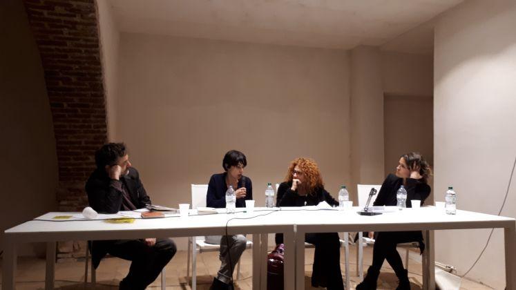 Da sinistra a destra Tommaso Pincio, Veronica Raimo, Antonietta Cozza, Violetta Bellocchio al convegno Più Arti Più Liberi al BoCs Museum in occasione della residenza BoCs Art