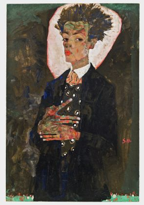 Egon Schiele, Self Portrait with Peacock Waistcoat, Standing, 1911, Ernst Ploil, Vienna. Picture: Courtesy of Ernst Ploil, Vienne