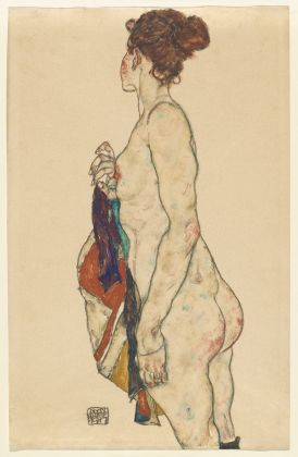 Egon Schiele, Standing Nude with a Patterned Robe, 1917, gouache and black crayon on buff paper, National Gallery of Art, Washington. Gift of The Robert and Mary M. Looker Family Collection 2016. Picture: Courtesy National Gallery of Art, Washington