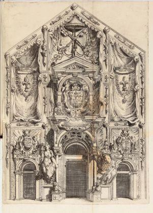 Facciata del Duomo addobbata per il funerale di Ranuccio I Farnese. Courtesy Fondazione Cariparma