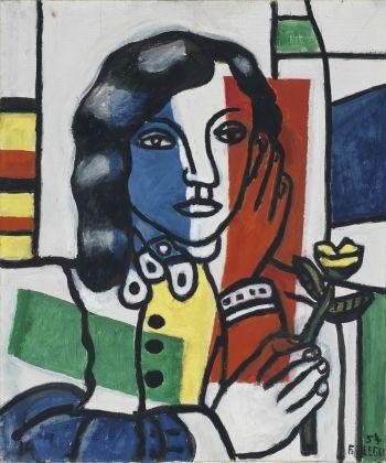 Jeune fille tenant une fleur. Léger, Fernand (French, 1881-1955). Oil on canvas, height 55.0 cm, width 46.0 cm, 1954.
