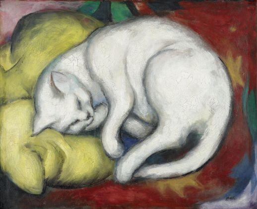 Franz Marc, Il gatto bianco, 1912. Kunstmuseum Moritzburg Halle (Saale), Kulturstiftung Sachsen Anhalt. Photo © Punctum Bertram Kober