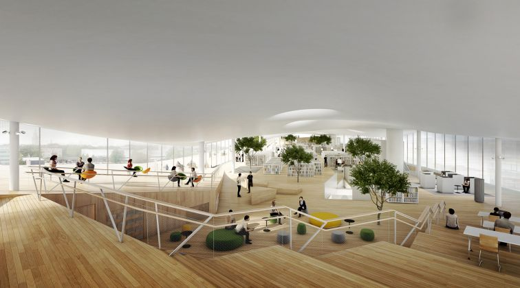 Helsinki Central Library by ALA, 2nd floor from south 2016 © ALA Architects
