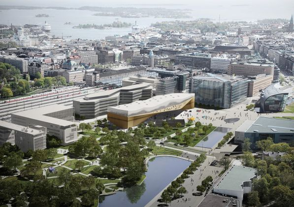 Helsinki Central Library by ALA, aerial day © ALA Architects