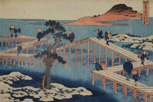 Katsushika Hokusai, Vedute insolite di famosi ponti giapponesi di tutte le province. Veduta dell'ottuplice ponte a Mikawa, 1831 32 ca. Collezione privata, Vienna ©Alistair fuller/www.alistairfuller.com