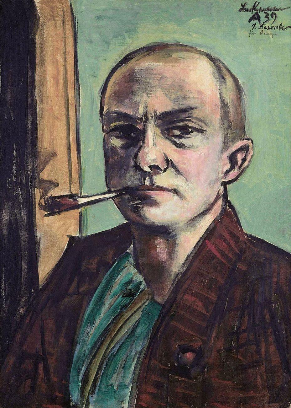 Max Beckmann, Autoritratto su sfondo verde con camicia verde, 1938-39. Museum der bildenden Künste Leipzig © 2018, ProLitteris, Zurich