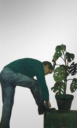 Michelangelo Pistoletto, Autoritratto con pianta, 1964-65. Courtesy Spazio -1, Collezione Giancarlo e Danna Olgiati, Lugano