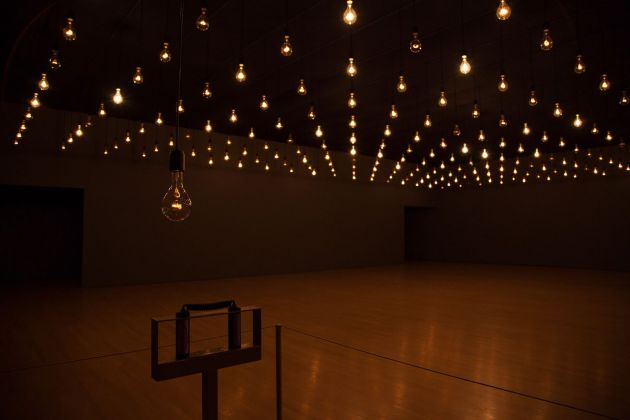 Rafael Lozano-Hemmer, Pulse Room, 2006. Installation view at Musée d'Art Contamporaine, Montréal 2014. Photo Richard-Max Tremblay. Courtesy Hirshhorn Museum, Washington DC