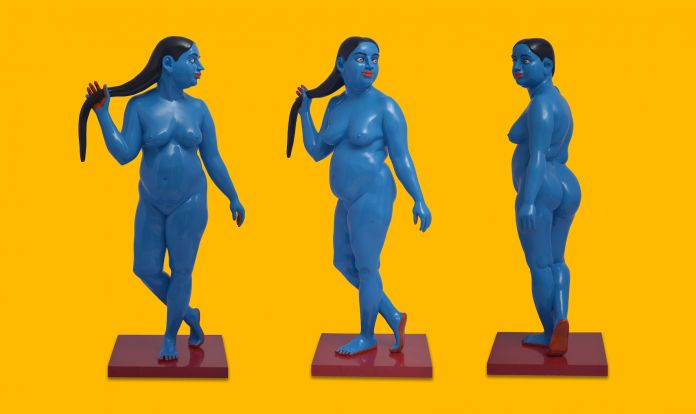 Ravinder Reddy, Standing Radha in blue - Detail, 2016-17 Painted on polyester resin fibreglass 70.5 x 37.5 x 21 in - Courtesy of Gallery Sumukha