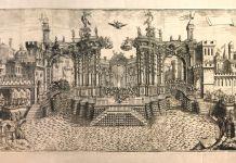 Scenografia nel laghetto del Parco Ducale con la Città di Caledonia, 1690. Courtesy Fondazione Cariparma
